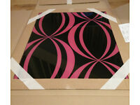 Black and pink glass splashback