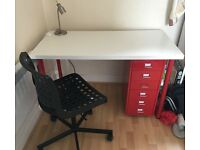 FULL IKEA OFFICE DESK SET - Desk, Drawers, Office Chair and Desk Lamps (Perfect for students!)