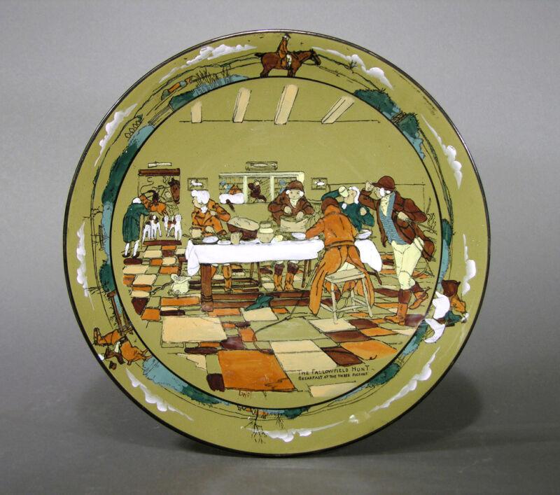 1908 Buffalo Pottery Deldare Ware Platter Fallowfield Hunt, Breakfast, L. Wit