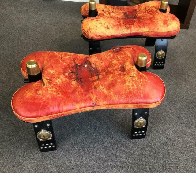 Amazing Pair Of Leather Wood Camel Saddle Footstool Bench Seat Ottoman In Mitcham London Gumtree Machost Co Dining Chair Design Ideas Machostcouk