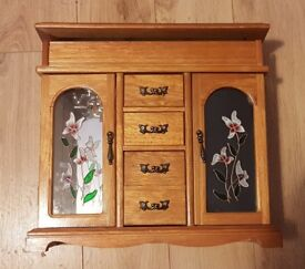 Must Go | Jewellery Box / Stand / Storage | Wood | Flower Glass Design | Killamarsh