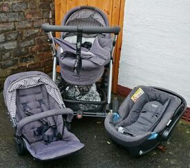 Mamas and Papas Top of the Range 3 in 1 Pram, Buggy and Car Seat plus Extras