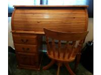 Roll top Pine desk and swivel Pine chair