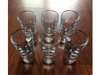 GLASS SHOT GLASSES 6 VERY HEAVY QUALITY PRODUCT