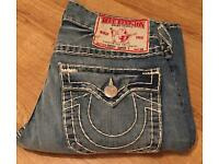 Brand new authentic men's True Religion jeans. Waist 32. Ricky Super T style. Thick stitch