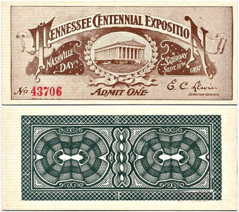 Ticket: Nashville Day, Tennessee Centennial Expo-1897
