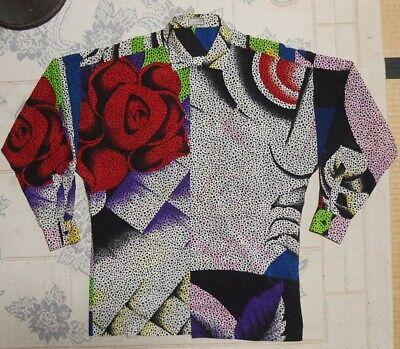Vintage Gianni Versace Men's Silk Dress Shirt 46(S) Dot Flower Elegant Steampunk