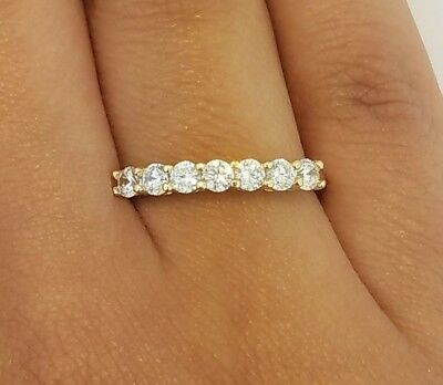 14k Yellow Gold Half Eternity .50 Ct Round Diamond Ring Wedding Band Stackable (Gold Half Round Band)
