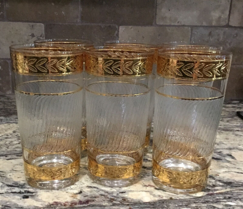 """LOT OF 6 CULVER STARLYTE 22 KT GOLD LAUREL 5 1/2""""T GLASS DIAGONAL FROSTED LINES"""