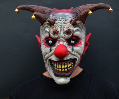 Creepy Evil Scary Halloween Clown Mask Latex Evil JESTER CLOWN - Scary Halloween Clowns