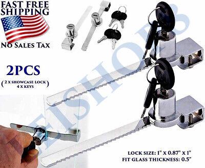 2 PCS GLASS SLIDING DOOR RATCHET LOCK CHROME OFFICE CABINET DISPLAY TROPHY CASES
