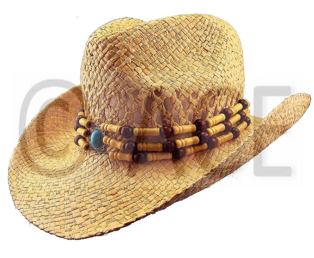 Womens Straw Summer Hats Ladies Wide Brim Natural Bead ...