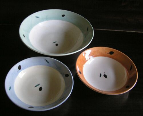 B.B Bristol Williams-Sonoma Poole Pottery FRESCO XL Serving Bowl & 2 Pasta Bowls