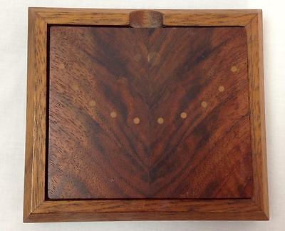 Artisan Hand Crafted Mixed Wood Lidded Square Box, Cedar Top