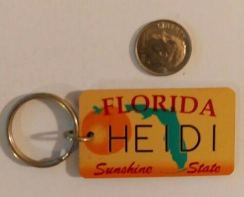 Vintage Florida Souvenir License Plate Keychain Tag Heidi FL Lg