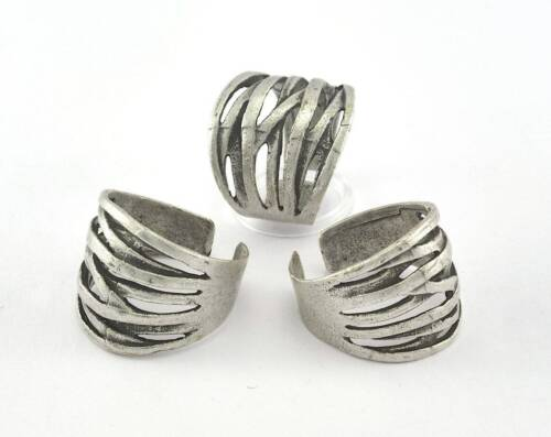 Ring Stripes Adjustable Ring Antique Silver Plated brass (18.5mm 8.5US size 3592