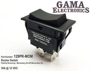 30 Amp Rocker Switch Polarity Reversing DC Motor Control- Momentary - 129-PR-MOM