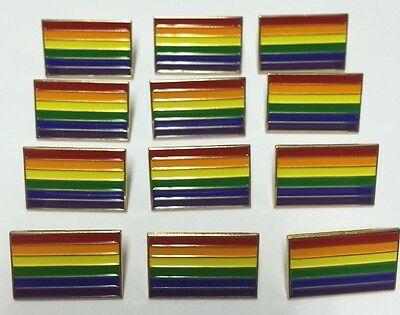 New Lot Of 12 Gay Pride Rainbow Flag 1  Lapel Pin Badge Lgbt Gilbert Baker Us