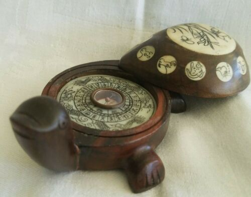 Vintage TURTLE SHAPED Rosewood and Bone Chinese Astrological Compass