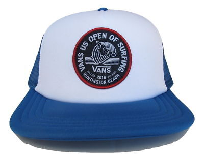 Vans Off The Wall 2016 VUSO US Open Surf Hat Cap Trucker Blue White NWT One Size