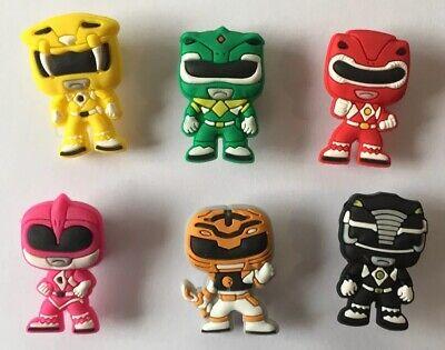 6 Schuh Pins - Shoe Charms - Anstecker für Crocs - Clogs - Power Rangers