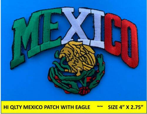 "MEXICO FLAG PATCH w/ EAGLE IRON-ON SEW-ON EMBROIDERED MEXICAN EMBLEM (4""x2.75"")"