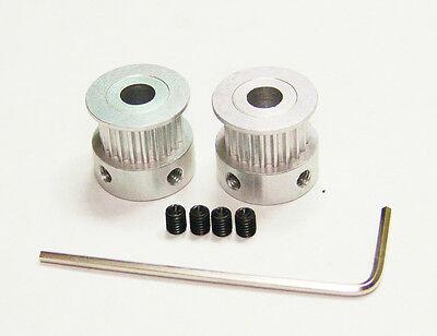 2 Aluminum Timing Pulleys Reprap Prusa Mendel 3d Printer Hex Wrench 2mm 2gt Gt2