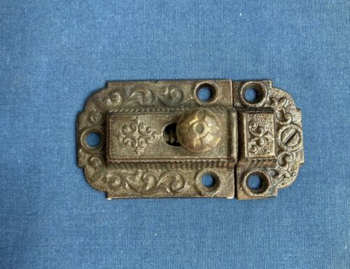 Antique Victorian Ornate Eastlake Cabinet Cupboard Latch Lock Slide with Keeper