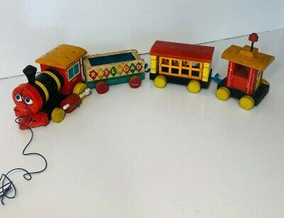 Vintage Fisher Price #999 Huffy Puffy Wooden Train Pull Toy 4 Pcs