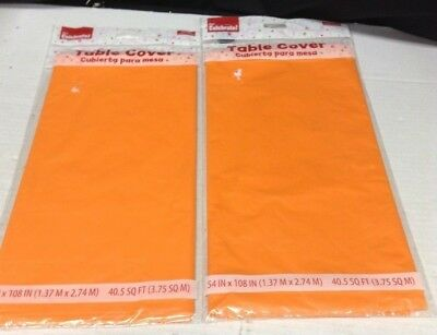 2 Orange Plastic Party Kitchen Table Cover 54x108 rectangle Halloween Birthday](Orange Plastic Table Cover)