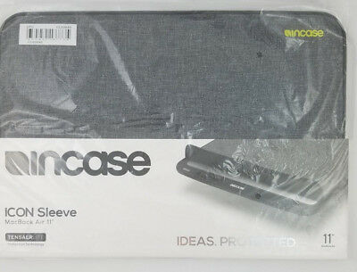 """NEW Incase ICON Sleeve Pouch Case TENSAERLITE MacBook Air 11"""" Heather Gray Black for sale  Shipping to India"""