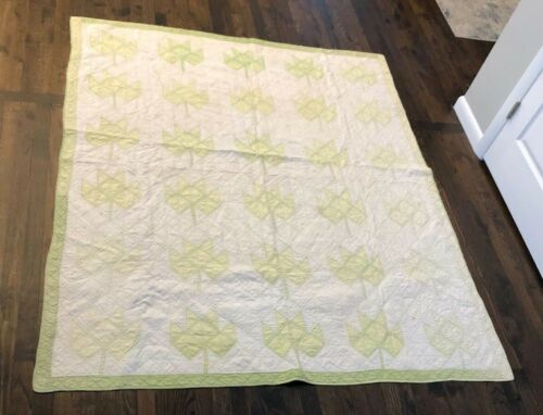 Antique Light Green and White Quilt with Leaf Pattern