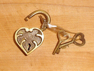 Heart Lock Key - Ornate Heart Lock, Solid Brass with Antique Finish and Two Keys