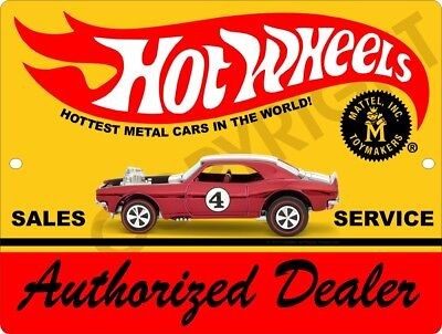 "HOT WHEELS Authorized Service Dealer 9"" x 12"" Aluminum Sign"