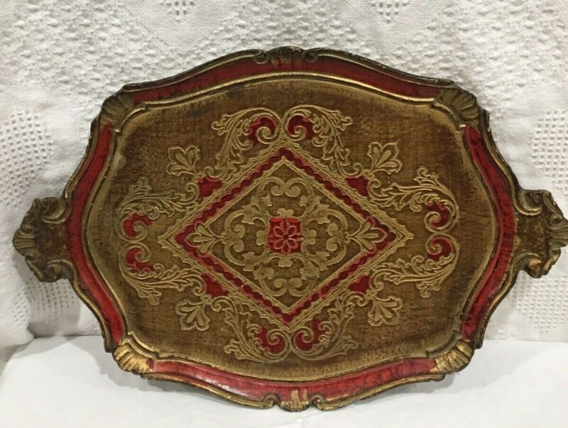 Antique Italian Florentine Wooden Tole Serving Tray Hand Painted Red Gold Gilt
