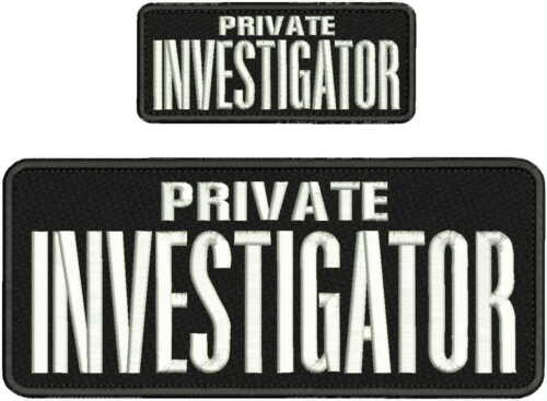 PRIVATR INVESTIGATOR embroidery patch 4x10AND 2X5 hook on back