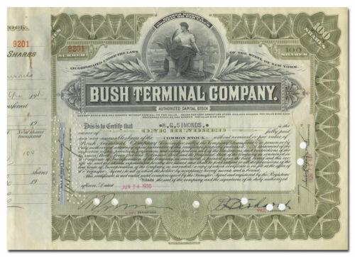 Bush Terminal Company Stock Certificate (Brooklyn Barge)
