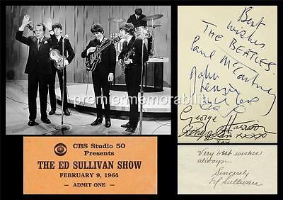 THE BEATLES JOHN LENNON PAUL McCARTNEY HARRISON & ED SULLIVAN SIGNED (PRINTED)