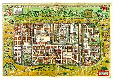 Ancient Templar Color Map of Jerusalem B, Shows old Sites, Very Detailed
