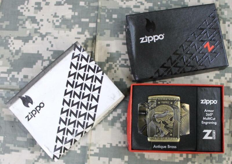 Zippo 29268 Steampunk Armor Antique Brass Windproof Lighter Dirty/Damaged Box!!