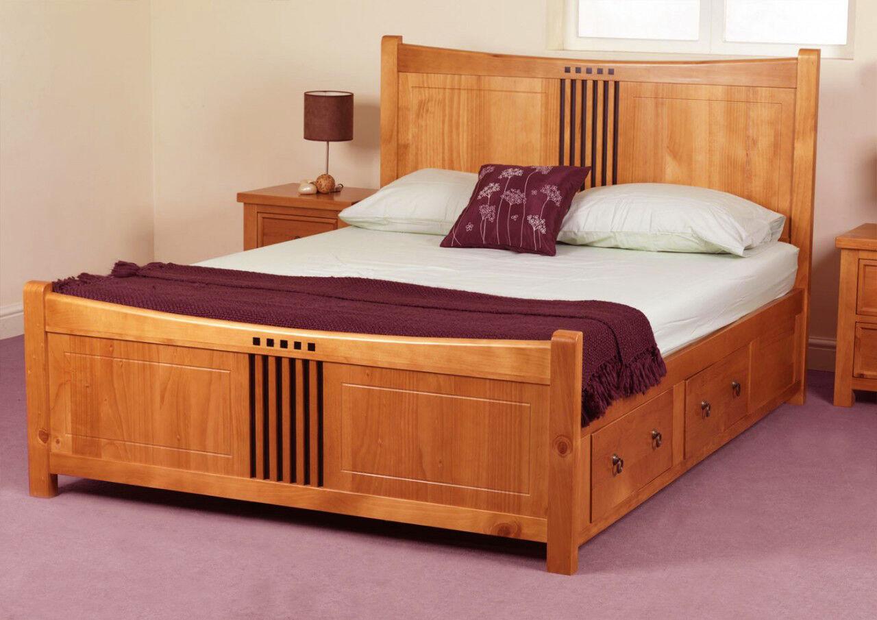 Hereford Drawer Storage Bed Frame Solid Wood Oak Finish
