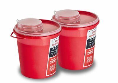 Adirmed Round Sharps Container Biohazard Needle Disposal 1.5 Quart 2 Piece