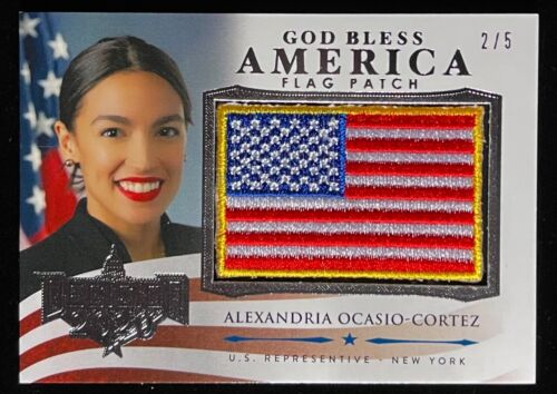 AOC ALEXANDRIA OCASIO CORTEZ 2020 DECISION AMERICA FLAG PATCH PREVIEW CARD 2 / 5