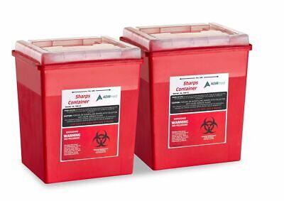 Adirmed Sharps Container Biohazard Needle Disposal Flip-open Lid 8 Qt - 2 Piece