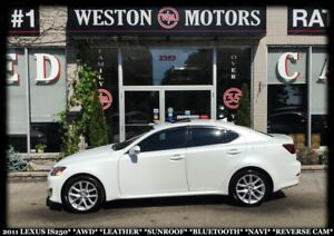 2011 Lexus IS 250 AWD*LEATHER*SUNROOF*BTOOTH*NAVI*REVERSE CAM*