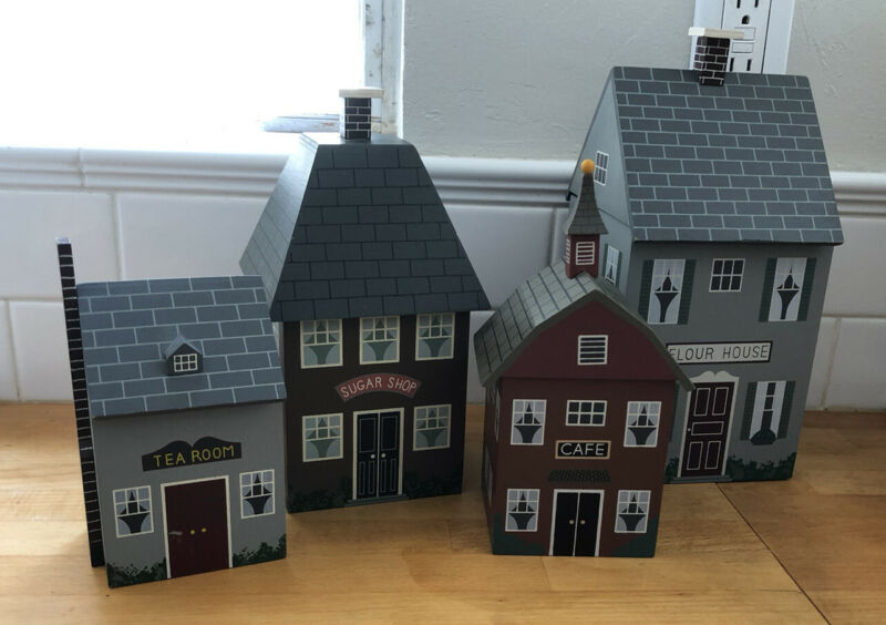 4 Vintage House Shapes Country  Wood Village Shops Kitchen Canister Set
