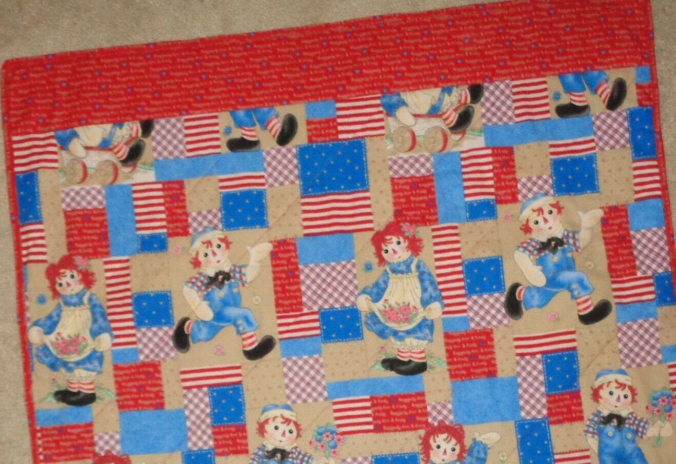 Baby Toddler Quilt Raggedy Ann Andy Quilt Blanket NEW 45 X 40 Handmade - $24.99
