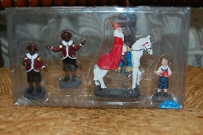 Christmas Holland Specials Sinterklaas & Black Pete Resin Set of 4 New in Box  ()