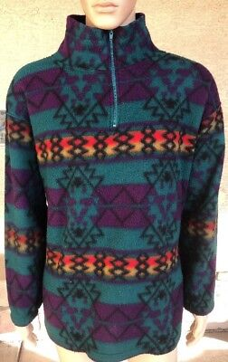 Vintage Blazer Firenze Navajo Tribal Aztec 1/4 Zip Fleece Style Jacket Large Fleece Vintage Blazer