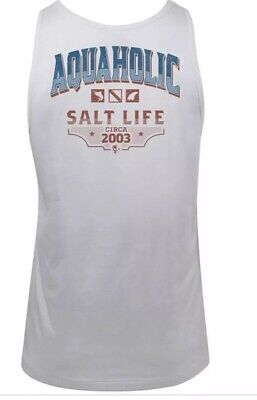 "SALT LIFE White ""AQUAHOLIC"" Tank Top Fish-Surf-Dive  MENS XXL"